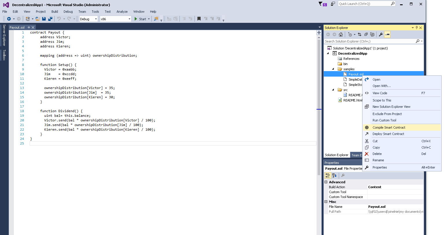 Decentralized applications development for .NET developers using Microsoft Visual Studio