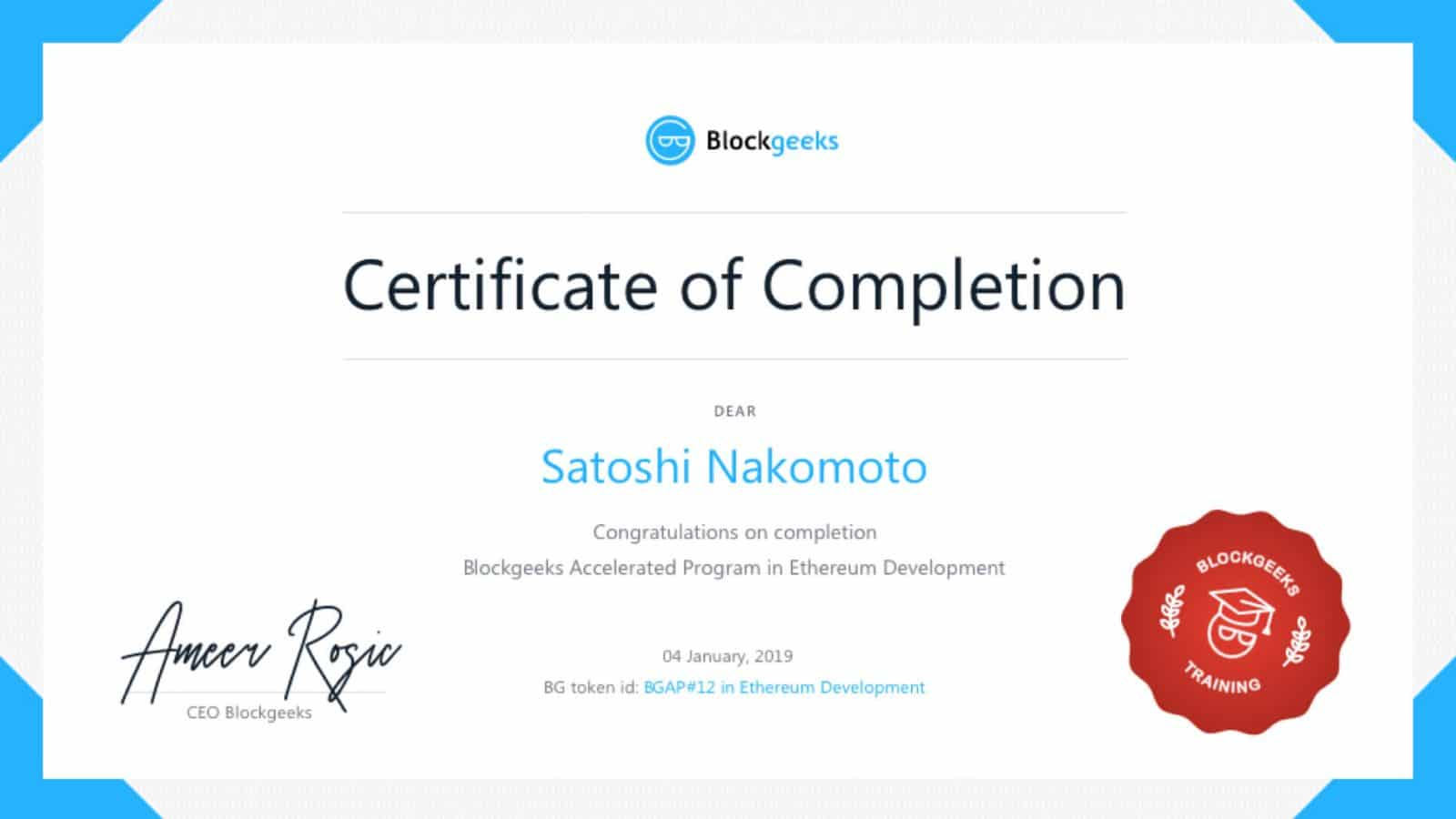 Certificate of Completion verified on Ethereum blockchain
